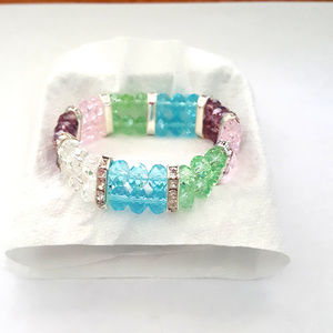 Jewelry - MultiColor & Clear Glass Crystal Stretch Bracelet